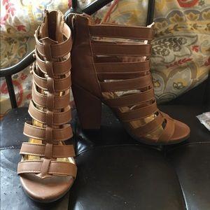 Brown Gladiator Heeled Sandals